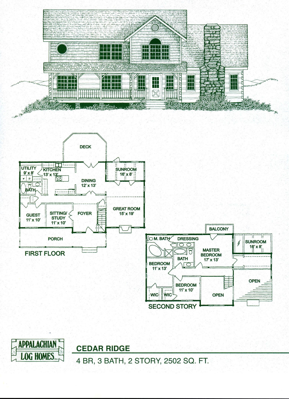 Log home floor plans log cabin kits appalachian log homes for 2 story log cabin floor plans