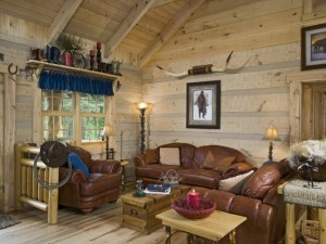 Interior, horizontal living room looking out window and entry, Clark residence, Paint Lick, Kentucky, Appalachian Log Homes
