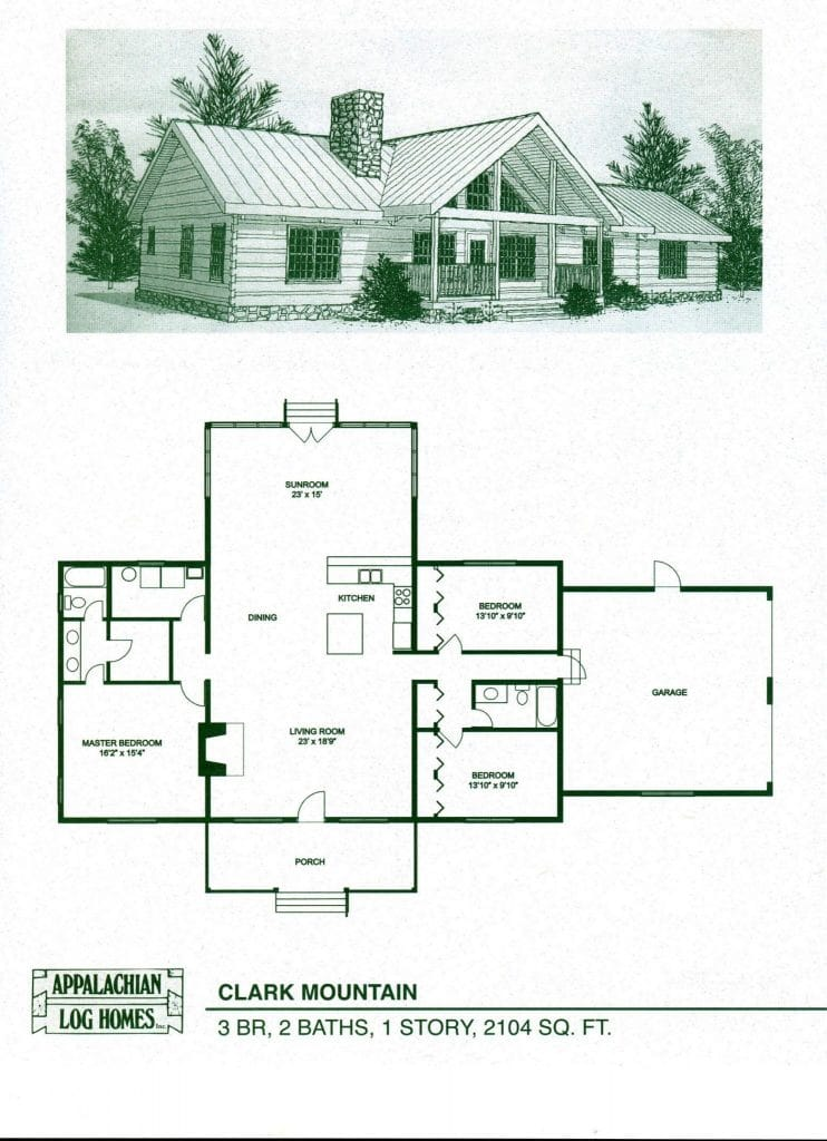 Clark mountain appalachian log timber homes rustic for Modern log home floor plans