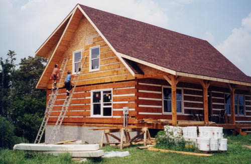 What your contractor starts and finishes appalachian log for Log siding house plans
